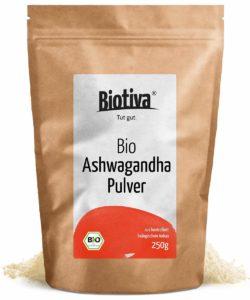 BIO Ashwagandha Pulver von Biotiva in Tüte auf weissem Grund